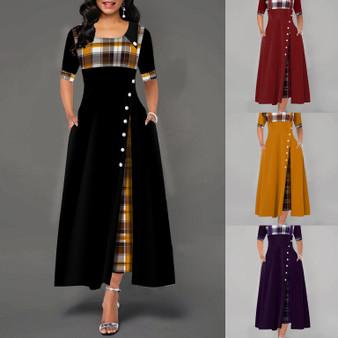 QueenLine Long Dress Women 2020 Summer Casual Hit Color O-Neck High Waist Half Sleeve Plaid Bundage Dress Elegant Female A Line Vestidos