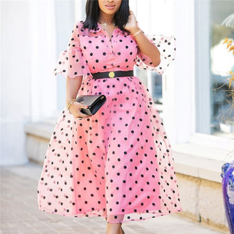 QueenLine African Party Dresses for Women Pink Pleated Tulle Patchwork Black Polka Dot Retro Lady Dinner Date Summer Night Tunic Femme XXL