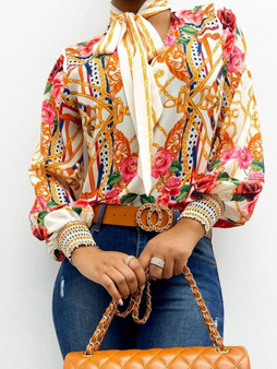 QueenLine Scarf Neck Baroque Print Top Blouses Women Retro Print Lantern Sleeve Blouse Shirt Elegant Office Lady Shirt Fashion Blusa Mujer
