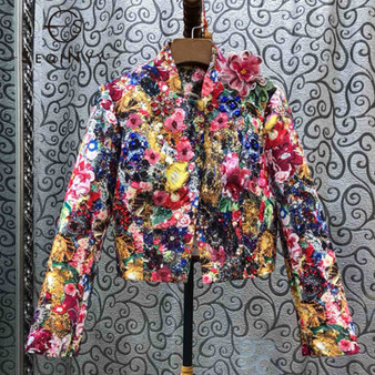 QueenLine Luxury Jacket 2020 Spring Autumn New Fashion Design Bead Sequins Crystal Colorful Flowers Print Jacquard Top Women