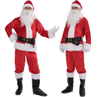 QueenLine Brand 5PCS Santa Claus Costume Men Women Suit Christmas Party Outfit Fancy Xmas Dress