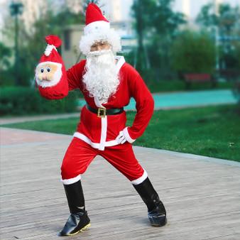QueenLine Adult Santa Claus Costume Suit Plush Father Fancy Clothes Xmas Cosplay Props Men Coat Pants Beard Belt Hat Christmas clothes Set