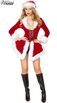 QueenLine Women Sexy Red Santa Costume Adult Mrs Miss Claus Sexy Xmas Costumes Christmas Fancy Dress