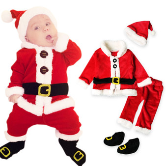 QueenLine  4Pcs Christmas Costume Baby Boy Clothes Sets Baby Girl Santa Claus Long Sleeve Tops+Pants+Hat+Socking Suits Toddler Baby Clothes