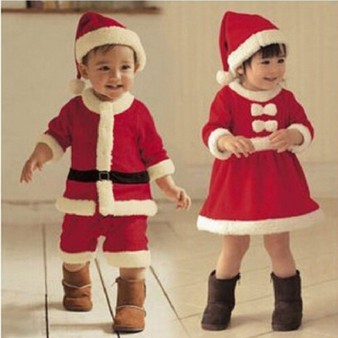 QueenLine Christmas Baby Santa Claus Cosplay Costume Baby Boys Long Sleeve Clothes Baby Toddler Girls Dress Cute Infant Winter Baby Dress
