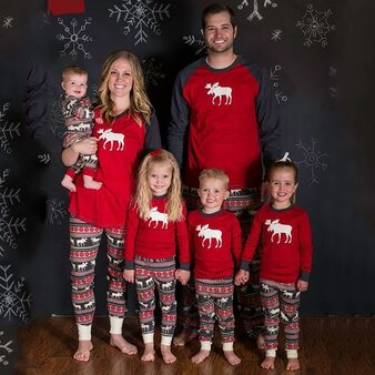 QueenLine Family Matching Clothes 2020 Christmas Pajamas Outfit Son Mommy Nightwear Pjs Moose Fairy Family Look Father Mother and Daughter