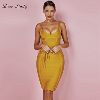 QueenLine  Bandage Dress New Arrivals Summer Yellow Bodycon Dress V Neck Spaghetti Strap Autumn Bandage Dress Party Women