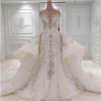 Queenline Luxury Beaded Mermaid Wedding Dress With Detachable Overskirt Dubai Arabic Sparkly Crystals Diamonds Bridal Gowns