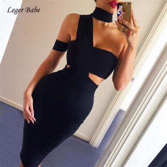 QueenLine Sexy One Shoulder Women Bandage Dress Summer Elegant Cutout Club Party Vestidos Bodycon Dresses Black White Verano