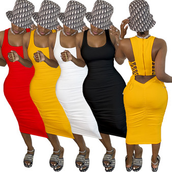 QueenLine 2020 Women Summer Midi Dress Sexy Sleeveless Back Zipper Bandage Party Night Club Casual Fashion Street Dresses Vestidos GL8696