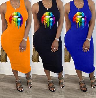 QueenLine 2020 Women Summer Midi Dress Sexy Sleeveless Mouth Print Bandage Party Night Club Casual Fashion Street Dresses Vestidos GL8694