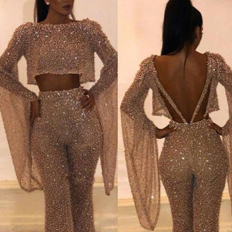 QueenLine Women Party Elegant O-Neck Gilding Jumpsuit Long Sleeves Bling Backless Sexy Fake 2 Piece Set Rompers Modern Ladies Streetwear