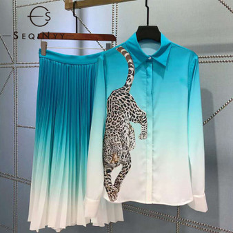 QueenLine Elegant Set 2020 Early Spring Autumn New Fashion Design Long Sleeve Leopard Print Shirt Blue White Gradient Skirt Suit