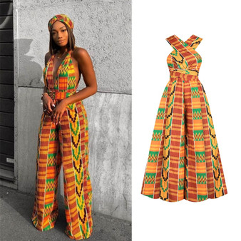 QueenLine African Clothes Floral Print Long Dresses Women Bandage Dress Sleeveless Top Jumpsuit Woman Summer Wide Leg Pants Set