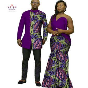 QueenLine 2020  African Print Clothes for Couple Dashiki elegant lady party Dresses and men shirts cotton African Clothing WYQ125