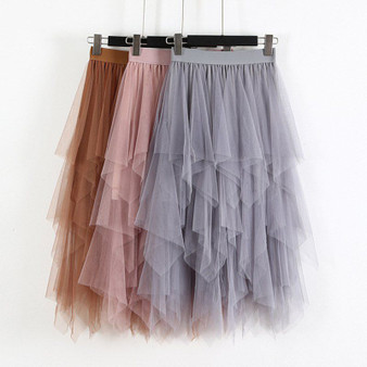 QueenLine Spring Party Skirt Elastic High Waist Long Tulle Skirt Women Irregular Hem Mesh Tutu Skirt Ladies