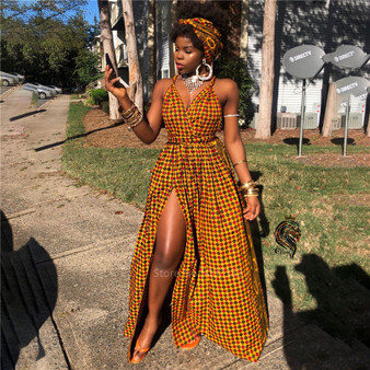 QueenLine African Clothes 2020 Robe Africaine Fashion Long Dress Split African Dresses for Women Dashiki Print DIY Bandage Sleeveless