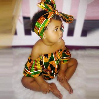 QueenLine Toddler Newborn Baby Girls  Romper African Print Off Shoulder Romper+Headband Set 2pcs Infant Outfits Jumpsuit Clothes
