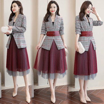 QueenLine new fashion plaid blazer with mesh pleated skirt suit set ladies formal blazer skirt set jacket skirt suits women