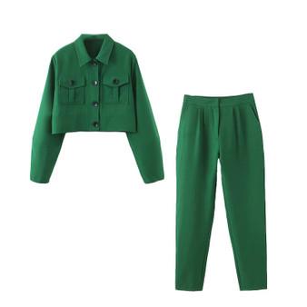 QueenLine Casual 2 piece set Women Suits Office Sets Green Suit Women Short Jacket Coat 2020 Crop Top And Pant Suits For Women Blazer Set