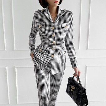 QueenLine Office Ladies Plaid Suit Slim Fit Autumn New 2 pcs Blazer Suits Vintage Business Work Outfits Ensemble Femme traje conjuntos