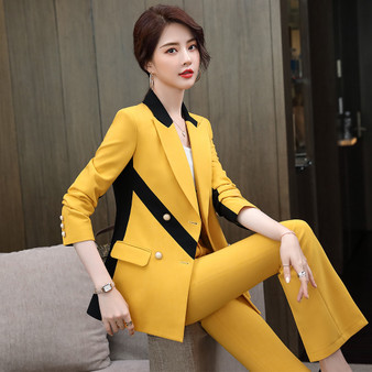 QueenLine women asymmetric stripe pant suit plus size 5XL 2 piece set casual purple pink yellow blazer suit fashion coat jacket and pant