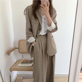 QueenLine Plus Size 2020 Women Suit Casual Pant Suits for Women Tailleur Femme Oversized Blazer Set Conbinaison Femme Ropa Formal Mujer