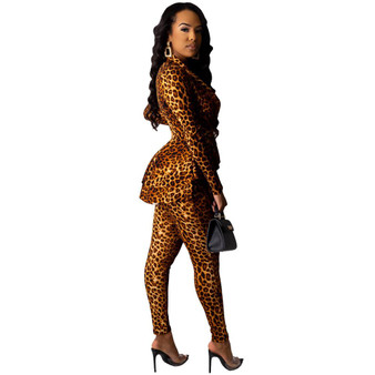 QueenLine Leopard Blazer Suit Women Elegant Turn-down Collar Ruffles Blazer With Pants Suit For Women Sexy Business Bodycon Two Piece Set