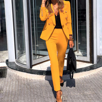 QueenLine Spring Women Solid Long Sleeve Blazer Jacket Casual Pants Suits Office Lady Elegant Button Black 2 Piece Set OL Business Outfits