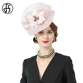QueenLine  FS Fascinators For Women Royal Wedding Elegant Pink Black Linen Sinamay Hat Big Flower Luxury Fedora Hats Ladies Church Dress