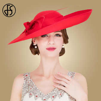 QueenLine  FS Royal Red Ladies Weddings Hats Fascinators Women Black Large Big Brim Kentucky Derby Church Fedoras Party Dress Sinamay Hat