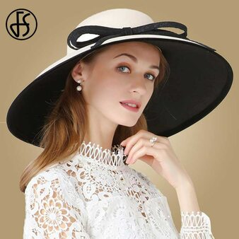 QueenLine  FS Ladies Wedding Hats Fascinators For Women Elegant Khaki Big Bowknot Large Brim Fedoras Kentucky Derby Church Party Dress Hat