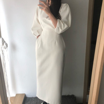 QueenLine Elegant Ladies Office Dress Fashion Sexy Solid Color Dress Women Slim Midi Dress Vestidos OL style white female clothes