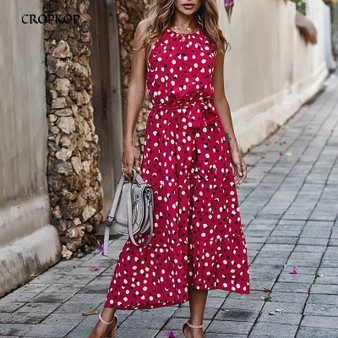 QueenLine Long Summer Polka-Dot Dress Beach Dresses Bow Strapless Casual White Midi Sundress 2020 Red Summer Vacation Clothes For Women