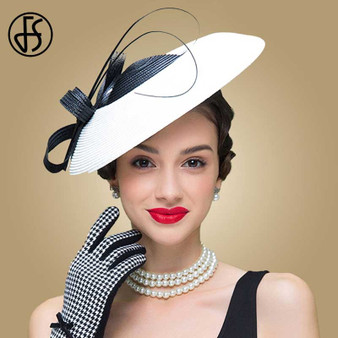 QueenLine  FS Fascinators Black And White Weddings Pillbox Hat For Women Straw Fedora Vintage Ladies Church Dress Sinamay Derby Hats