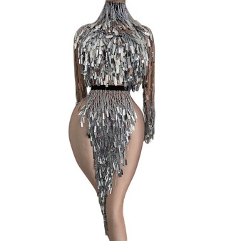 QueenLine Nightclub Party Silver Sequin Tassel Dancer Stage Outfit Sets Top + Skirt Women Elastic Fringed 2 Piece Set DJ Performance Wear