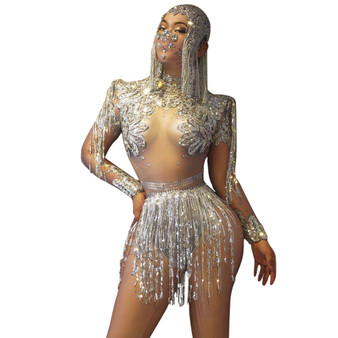 QueenLine Nightclub Party Celebration Rhinestone Bodysuit + Tassel Skirt 2-piece Set Women Sexy Crystal Fringes Dancer Stage Outfit Set