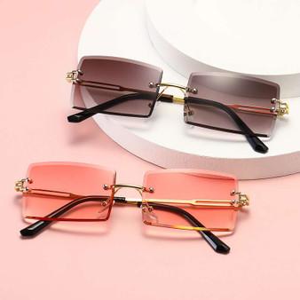 QueenLine 2020 Retro Sunglasses Women Brand Designer Fashion Rimless Gradient Sun Glasses Shades Cutting Lens Ladies Frameless Eyeglasses