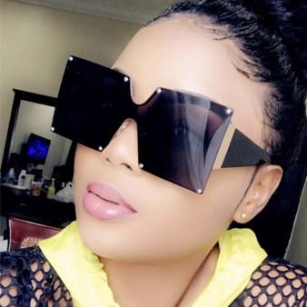 QueenLine Unisex Fashion 2019 New Ladies Square Sunglasses Women Goggle Shades Vintage Brand Designer Oversized Sun Glasses For Female Men