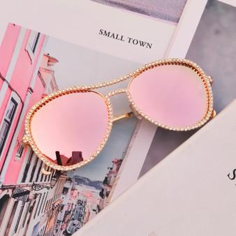 QueenLine Classic Pilot Rhinestone Sunglasses Women Fashion Luxury Crystal Decoration Eyewear Pink Clear Round Glasses gafas de sol mujer