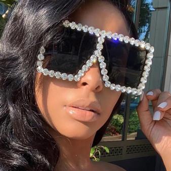 QueenLine KeiKeSweet Fashion Brand Designer Crystal Oversized Sunglasses Women Mirror Big Rhinestone Rays Shades Sun Glasses Lady Diamond