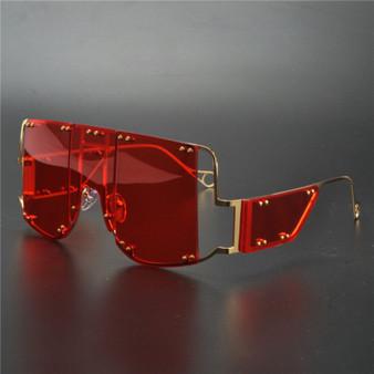 QueenLine 2020 Oversized Square Rimless Red Sunglasses Women Brand Designer Flat Top Big Sun Glasses Female One Piece Male Sunglases NX