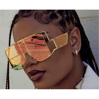 QueenLine Hot Fashion Square Big Frame Transparent Sunglasses Women Brand Designer Fashion Yellow Square Sunglasses Men Retro Glasses NX