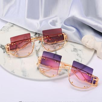 QueenLine 2020 Hollow Lens Oversized Women Sunglasses Square Brand Designer Men Sun Glasses Gradient Big Frame Sunglasses For Female UV400