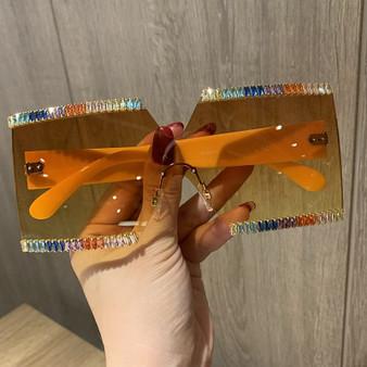 QueenLine Mix Diamond Design Big Frame Oversized Sunglasses Women Luxury Brand Large Flat Top Sun Glasses Trendy Square Gradient Shades