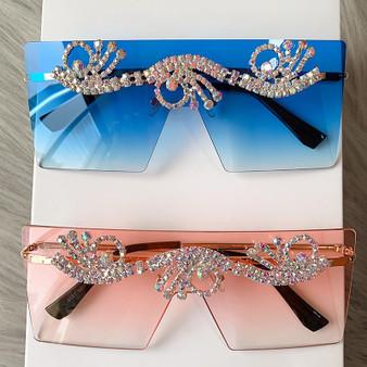 QueenLine Oversized Sunglasses Women Luxury Rhinestone Men Frameless Sun Glasses Fashion Shades for Women Oculos De Sol