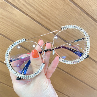 QueenLine Zircon oversized sunglasses 2020 luxury Round sun glasses women Clear lens Eyeglasses Shades For Women  oculos feminino