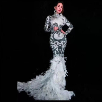 QueenLine Black Fashion Beaded Feather Long Vestidos Elegant Turtleneck Long Sleeve Autumn Celebrity Classy Evening Party Maxi Dress 2019