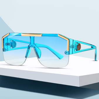 QueenLine 2020 Fashion Luxury Brand Oversized Square Sunglasses Men Women Vintage Metal Big Frame Semi-Rimless One Lens Sun Glasses UV400