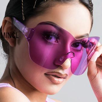 QueenLine Vintage Retro Shield Visor Sunglasses Women Men 2019 Oversized Windproof Glasses One Peice Big Frame Goggles Sun Glasses NX